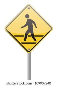 pedestrian yellow traffic sign on white