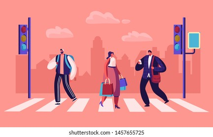 Pedestrians Crossing Road at Traffic Light Website Landing Page, Businessman with Smartphone, Man with Backpack and Woman with Shopping Bags in City Web Page. Cartoon Flat Vector Illustration Banner