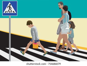 Pedestrians crossing street. Color vector illustration.