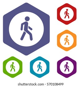 Pedestrians only road sign icons set rhombus in different colors isolated on white background
