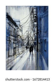 Pedestrians stroll down in a street under rain in Tokyo - vector illustration  (Ideal for printing on fabric or paper, poster or wallpaper, house decoration) All sign are fictitious
