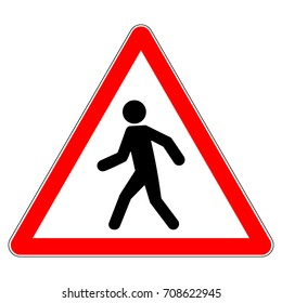 Pedestrians warning sign, red triangle sign with pedestrian symbol, vector illustration.