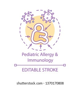 Pediatric allergy and immunology concept icon. Childrendiseases. Allergens, virus, bacterial infection. Kid health care idea thin line illustration. Vector isolated outline drawing. Editable stroke