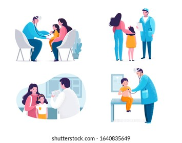Pediatric checkup scene with doctor, child and mother. A pediatrician doctor examines a patient and listens to him with a statoscope. Vector stock illustration isolated on white background. Flat style
