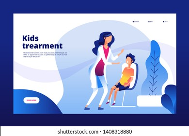 Pediatric clinic. Clinical pediatric care mother sick child doctor hospital health checking kids healthcare vector landing page