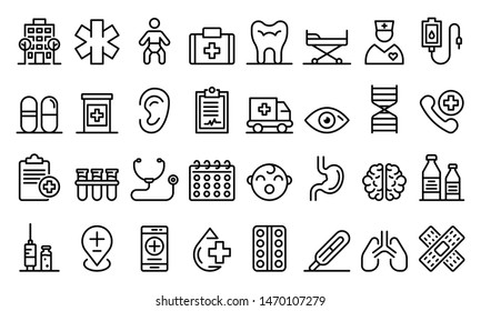 Pediatric clinic icons set. Outline set of pediatric clinic vector icons for web design isolated on white background