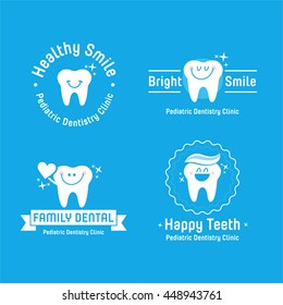 Pediatric Dental logos collection. Vector illustration. Beautiful character of tooth.