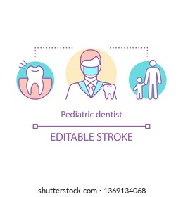 Pediatric dentist concept icon. Orthodontist. Caries prevention. Dental care. Surgical dentistry. Children dental clinic idea thin line illustration. Vector isolated outline drawing. Editable stroke