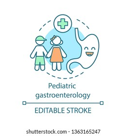 Pediatric gastroenterology concept icon. Healthy kids gastrointestinal tract. Cartoon smile stomach character. Child health care idea thin line icon. Vector isolated outline drawing. Editable stroke