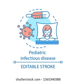 Pediatric infectious disease concept icon. Bacterial and viral infection. Hyperthermia, asthenia. Children health care service idea thin line icon. Vector isolated outline drawing. Editable stroke