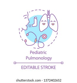 Pediatric pulmonology concept icon. Respiratory system disease. Kids lungs. Pulmonologist device. Respiratory medicine idea thin line illustration. Vector isolated outline drawing. Editable stroke