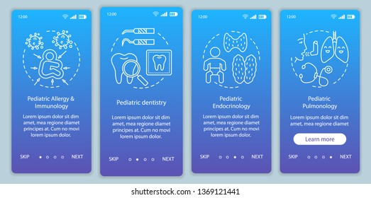 Pediatric service onboarding mobile app page screen vector template. Immunology, dentistry, pulmonology. Walkthrough website steps with linear illustrations. UX, UI, GUI smartphone interface concept