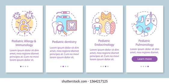Pediatric services onboarding mobile app page screen with linear concepts. Dentistry, endocrinology, pulmonology walkthrough steps graphic instructions. UX, UI, GUI vector template with illustrations