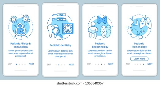 Pediatric services onboarding mobile app page screen with linear concepts. Immunology, endocrinology, pulmonology walkthrough steps graphic instructions. UX, UI, GUI vector template with illustrations