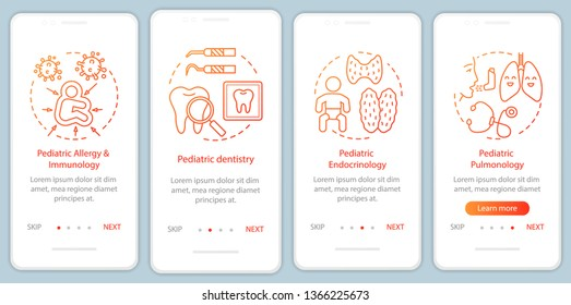 Pediatric services onboarding mobile app page screen with linear concepts. Dentistry, allergy, endocrinology, pulmonology walkthrough steps graphic instructions. UX, UI, GUI vector template with icons