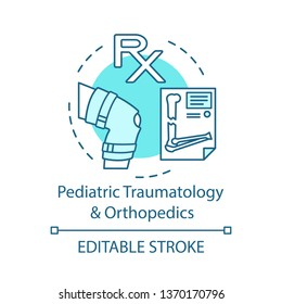 Pediatric traumatology and orthopedics concept icon. Physical therapy. Fracture and sprain. X-Ray. Childcare health center idea thin line icons. Vector isolated outline drawing. Editable stroke