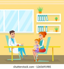 Pediatrician Appointment in Hospital Cabinet. Doctor Man Character Talking with Red Head Mom and Cute Girl Kid. Therapy and Diagnosis Department. Pediatric Examination Room Flat Illustration.