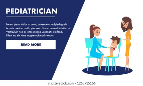 Pediatrician Checkup Banner. Doctor Examining a Boy Heart with Stethoscope. Mom with Kid Waiting for Specialist Consultation and Treatment. Flat Cartoon Caracter Illustration. Preschool Examination.