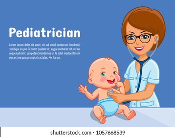 Pediatrician and child baby vector cartoon illustration for pediatrics medicine or pediatry center. Flat design of pediatrician doctor woman doctor examining infant child with stethoscope