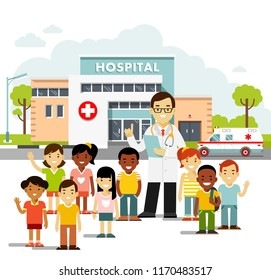 Pediatrician doctor concept. Young man practitioner and happy children in flat style. Doctor and group of kids standing together on hospital background. Consultation, medical diagnosis and treatment.