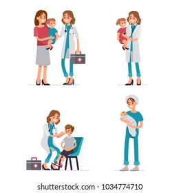 Pediatrician doctor exam children and  newborn nurse holding baby. Flat style vector illustration isolated on white background.