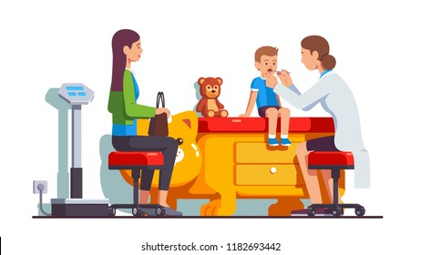 Pediatrician doctor woman examining sick kid sore throat mouth. Mother and son visiting doctor together for checkup. Checking child health at paediatrician office. Flat isolated vector illustration