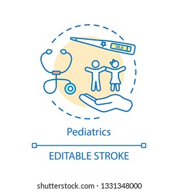 Pediatrics concept icon. Infants, children, adolescents medical care idea thin line illustration. Pediatric medicine vector isolated outline drawing. Child therapy, disease control. Editable stroke