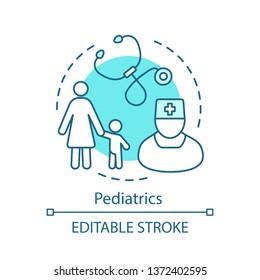 Pediatrics concept icon. Pediatric health care center. Pediatrician and stethoscope. Kid clinic. Childcare medical service idea thin line illustration. Vector isolated outline drawing. Editable stroke