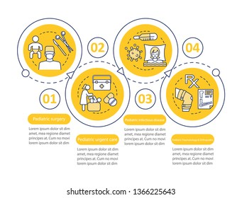 Pediatrics vector infographic template. Dentistry, pulmonology. Business presentation design elements. Data visualization with four steps and options. Process timeline chart. Workflow layout with icon