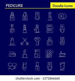 Pedicure Hand Drawn Icon Pack For Designers And Developers. Icons Of Lotion, Lotion Tub, Soap, Cosmetic, Beauty, Cream, Cosmetic, Vector