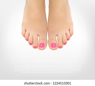 Pedicure manicure concept poster with female feet for beauty salon. Realistic vector illustration.