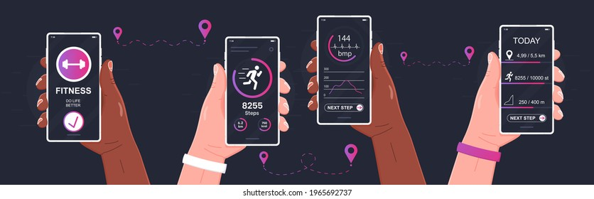 Pedometer concept. Fitness tracking app on mobile phone screen illustration flat cartoon style smartphone with run tracker, running or walk steps counter sport tech on cellphone. Ui, Ux design run app