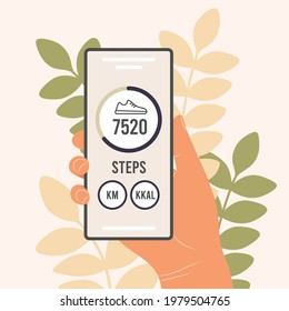 Pedometer in a mobile phone. An application that counts steps and tracks your walking progress. The hand of a man, a woman holds a smartphone with a fitness tracker. Flat vector illustration