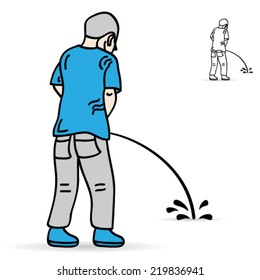 Image result for guy pissing on the grass cartoon