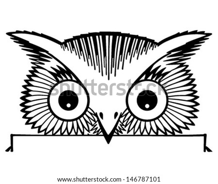 Peeking Owl Motif Retro Clip Art Stock Vector (Royalty ...