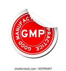 Peel red GMP (Good manufacturing practice) round sticker