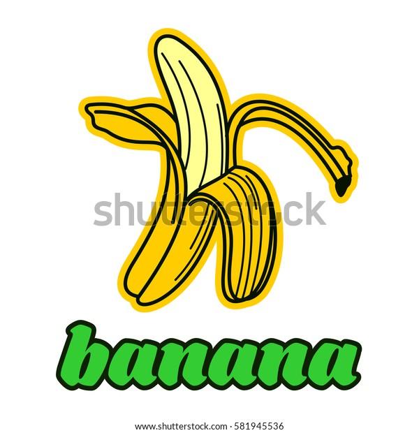 Peeled banana logo. Vintage style banana badge and label. Vector illustration isolated on white background.