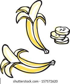 Peeled banana vector illustration