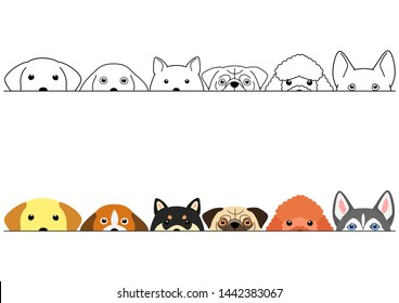 peeping cute dogs border set