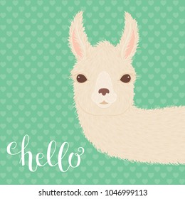 """Peering llama and hand lettering """"hello"""" on green background"""