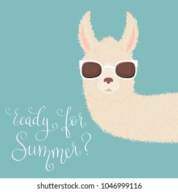 """Peering llama in sunglasses and hand lettering """"ready for Summer?"""" on blue background"""