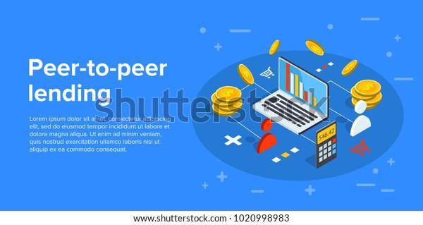 Peer-to-Peer-Lending Vektorgrafik in isometrischem Design. P2p Konzept, Geld in Start-up-Projekt investieren.