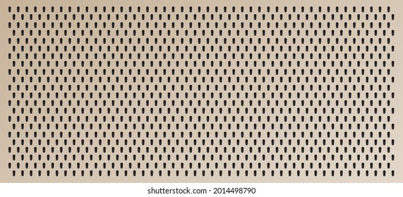 Peg board with oval holes. Rectangle brown peg board perforated texture background for working bench tools. Vector illustration.
