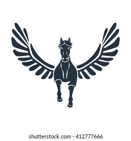 pegas front icon on white background, Pegasus in Greek mythology, logotype element for template,  winged divine stallion,