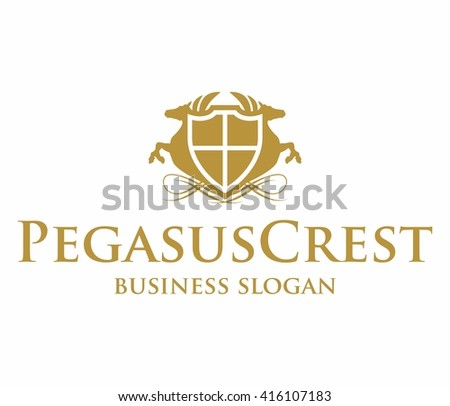 Pegasus Crest Logo Excellent Logo Template Stock Vector