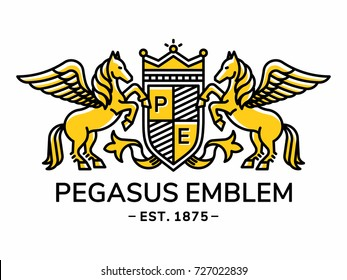 Pegasus emblem heraldry line style with shield and crown - vector illustration, logo design on white background