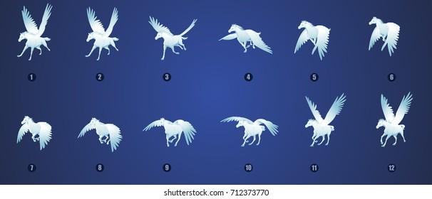 Pegasus flying animation sprite sheet