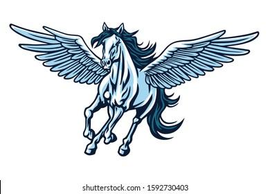 Pegasus Flying Horse. Majestic Pegasus Cartoon Vector Logo Mascot Design Illustration