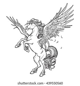 Pegasus greek mythological creature. Legendary beast concept drawing. Heraldry figure. Vintage tattoo design. Sketch isolated on a white background. EPS10 vector illustration.