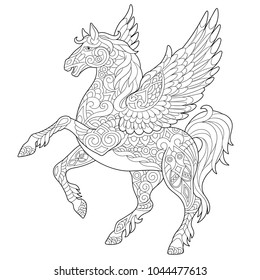 Pegasus - Greek mythological winged horse flying. Coloring page. Coloring book. Antistress freehand sketch drawing with doodle and zentangle elements.